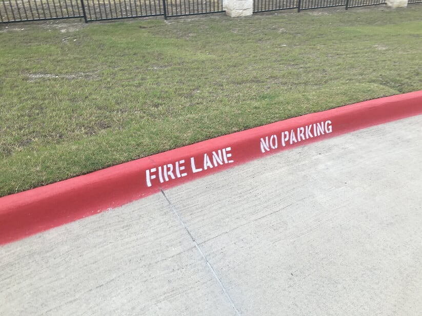 Fire Lane striping in your parking lot curb Baytown, Texas