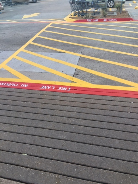 Concrete Parking Lot Striping Yellow Paint
